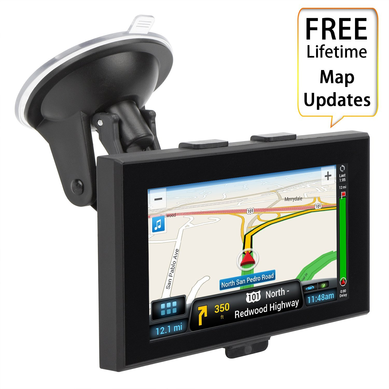 GPS Navigation for Car, ADiPROD 5 inches 8GB Lifetime Map Update Touch Screen Spoken Turn-to-turn Vehicle GPS Navigator with Car Charger & Back Bracket & Mount, Navigation System for Cars
